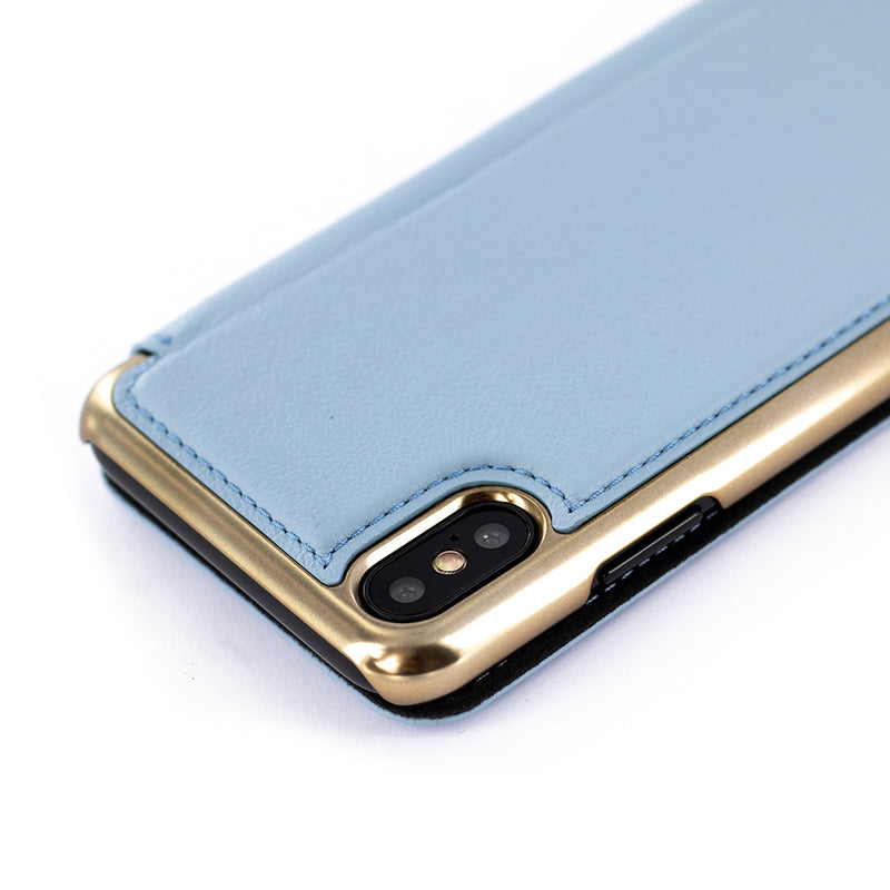 BLAKE Leather Folio Case for iPhone XS / X – Beach House/Gold Electroplated