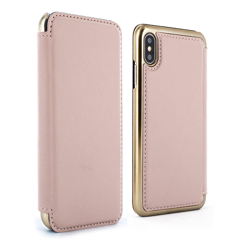 BLAKE Leather Folio Case for iPhone XS Max - Blossom/Gold Electroplated