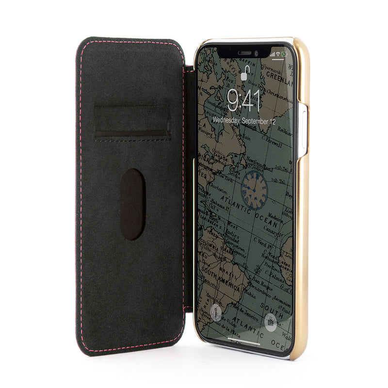 BLAKE Leather Folio Case for iPhone XS Max - Scarlet/Gold Electroplated