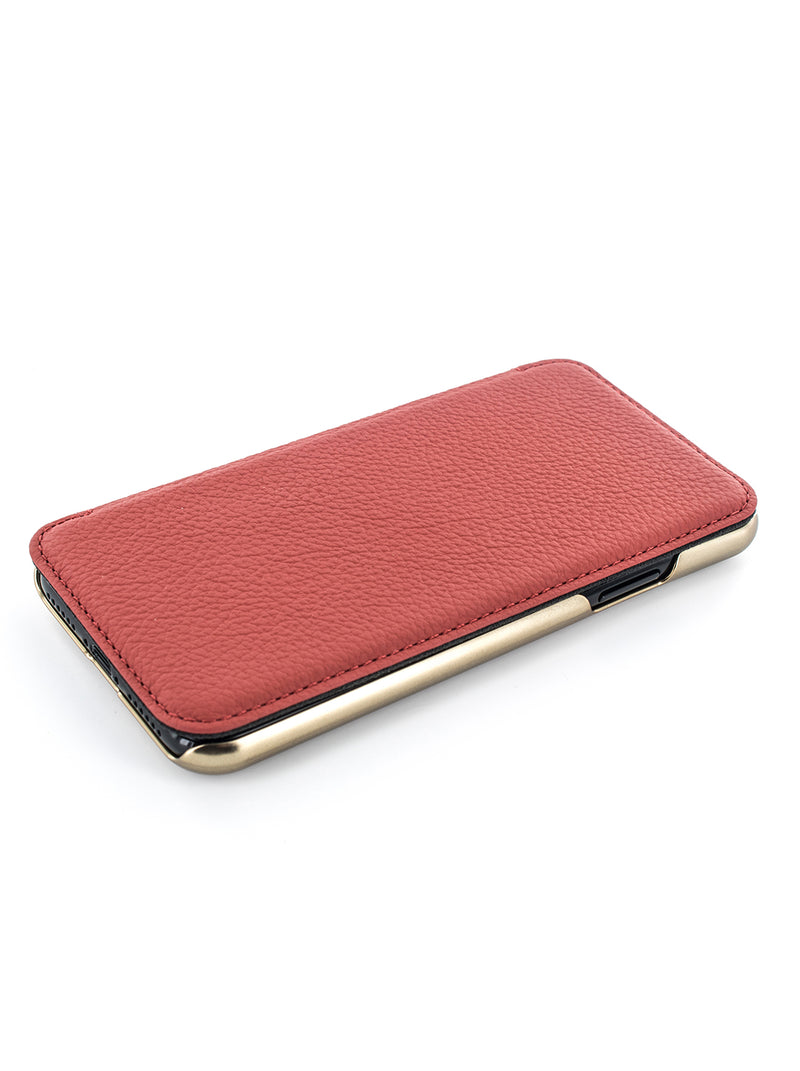 BLAKE Luxury Leather Case for iPhone 11 Pro Max- SCARLET/GOLD