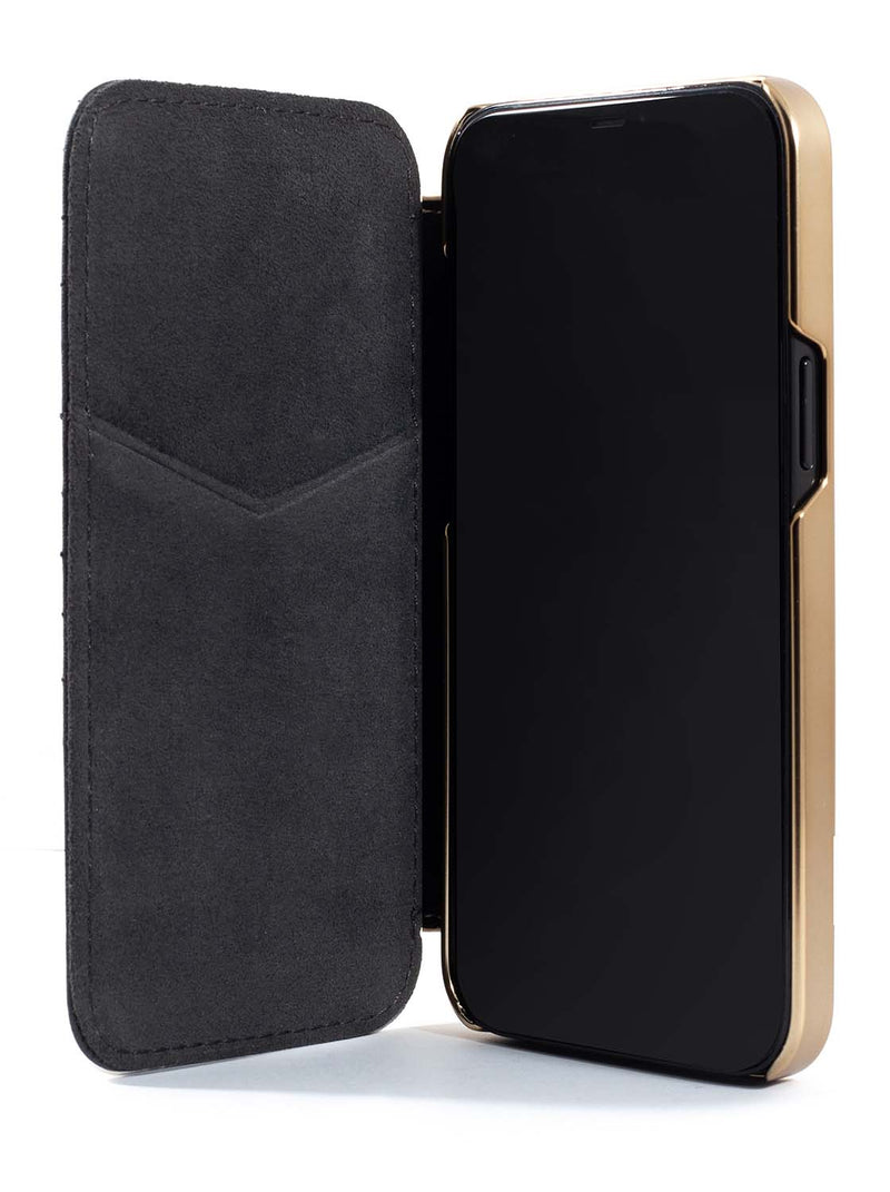 Greenwich PORTLAND Magsafe Quilted Leather Case for iPhone 12 mini - Beluga (Black)
