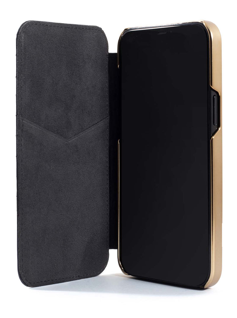 Greenwich PORTLAND Quilted Leather Case for iPhone 12 Pro - Beluga (Black)