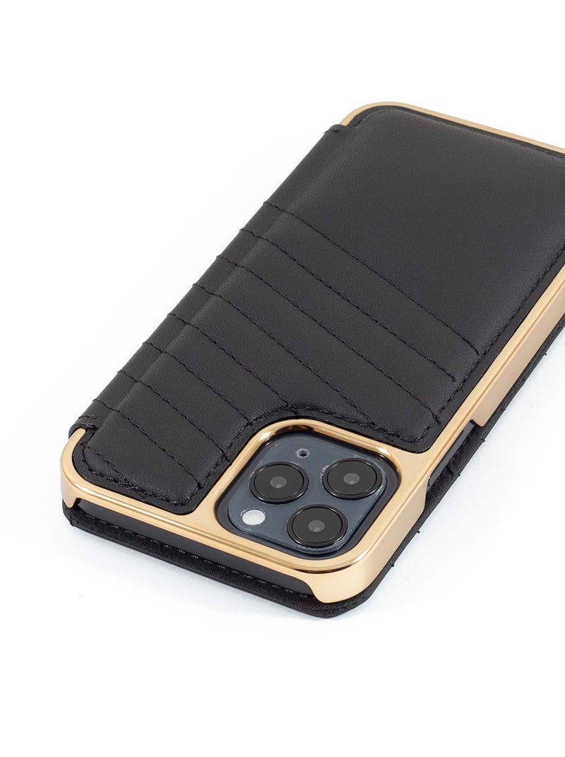 Greenwich PORTLAND Quilted Leather Case for iPhone 12 - Beluga (Black)