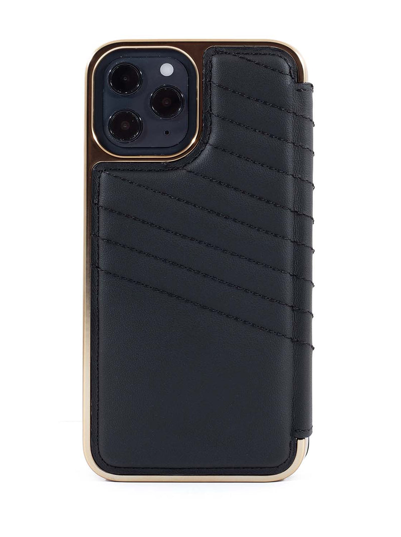 Greenwich PORTLAND Quilted Leather Case for iPhone 12 Pro Max - Beluga (Black)
