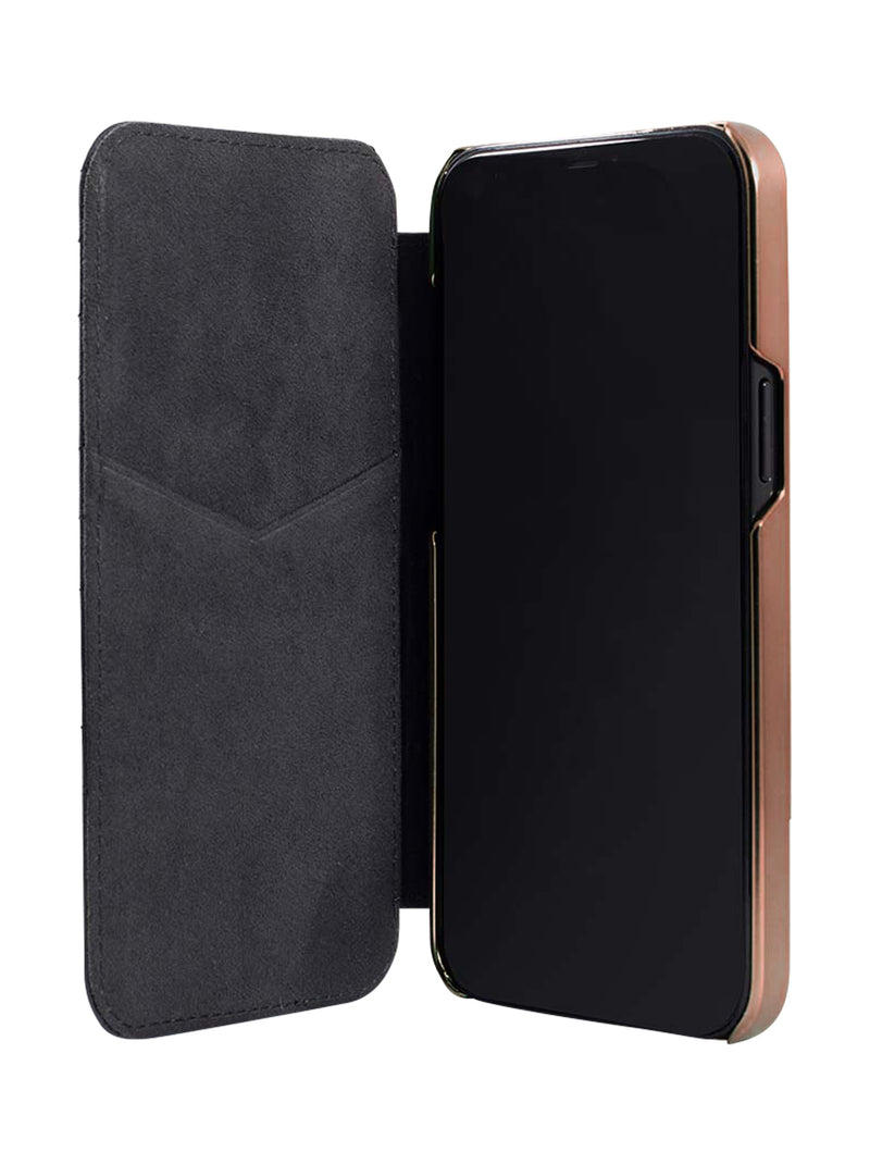 Greenwich PORTLAND Quilted Leather Case for iPhone 12 Pro Max - Beluga (Black) - Rose Gold
