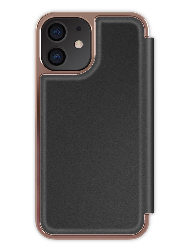 Ted Baker SHARITA Mirror Folio Case for iPhone 12 - Black/Rose Gold