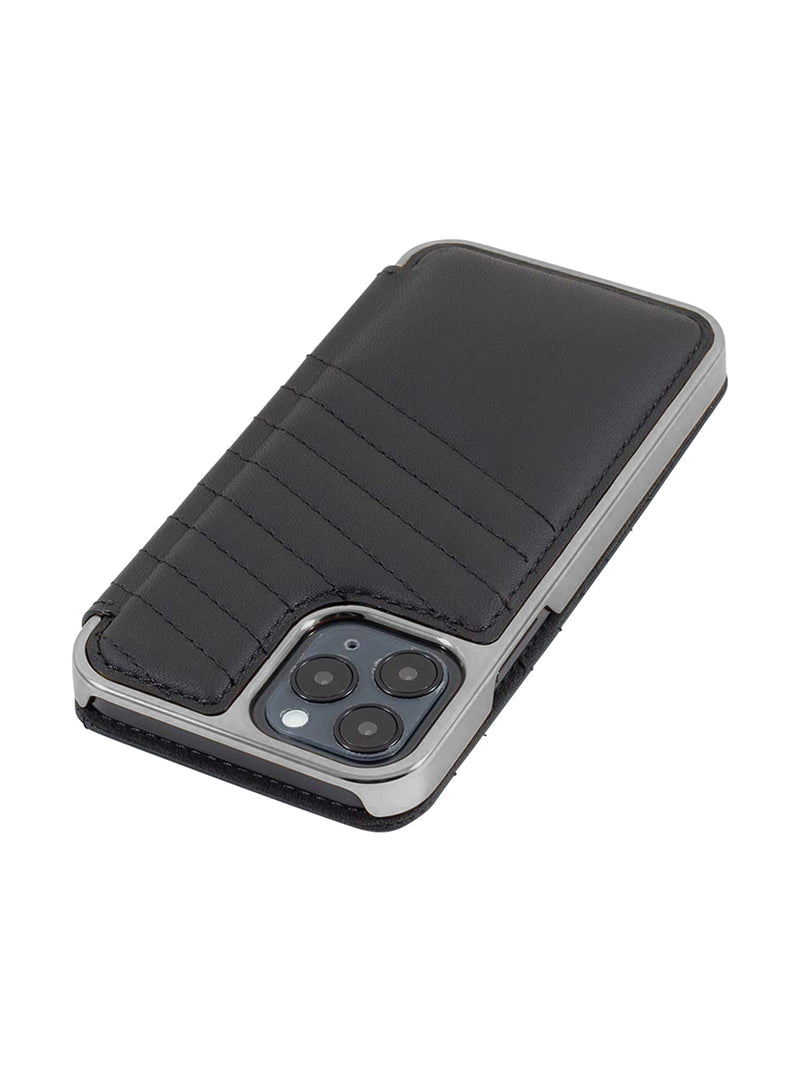 Greenwich PORTLAND Quilted Leather Case for iPhone 12 Pro Max - Beluga (Black) - Silver