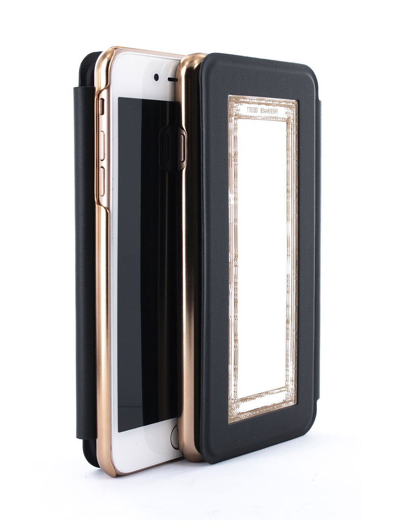 Flip back front and back image of the Ted Baker Apple iPhone 8 Plus / 7 Plus phone case in Black
