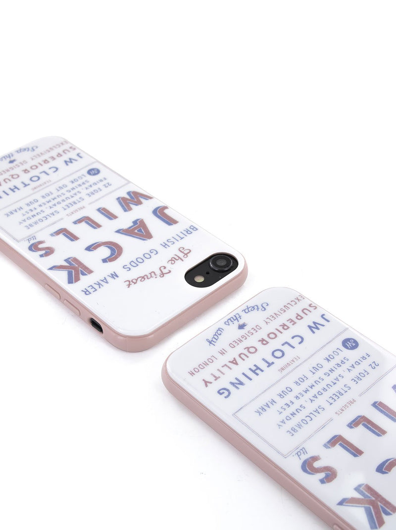 Top view image of the Jack Wills Apple iPhone 8 / 7 / 6S phone case in Graphic White
