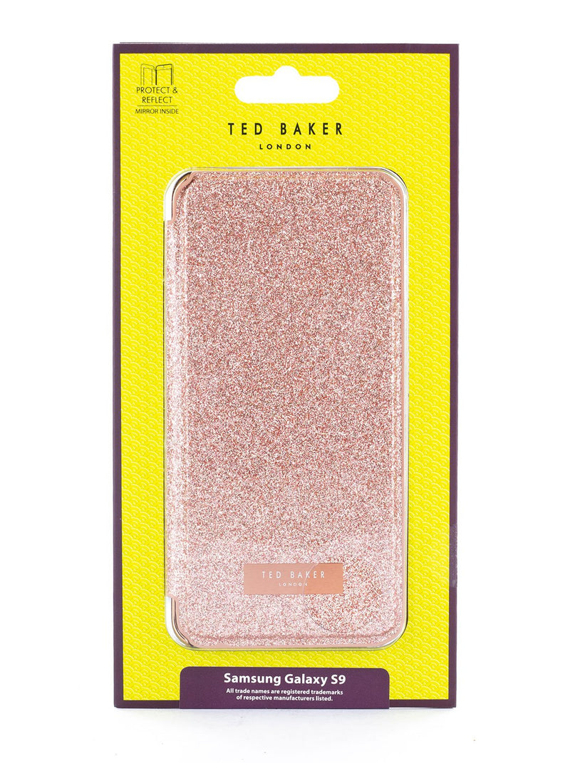 Packaging image of the Ted Baker Samsung Galaxy S9 phone case in Rose Gold