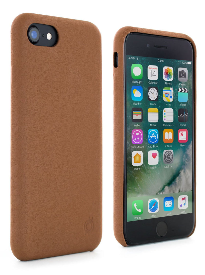 Front and back image of the Greenwich Apple iPhone 8 / 7 / 6S phone case in Saddle Brown