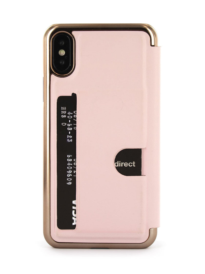 Back card slot image of the Ted Baker Apple iPhone XS / X phone case in Rose Gold