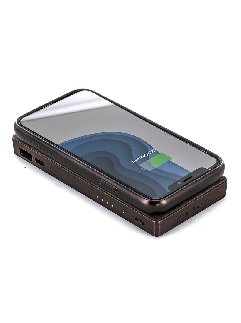 With compatible device image of the Ted Baker Universal power bank in Brown