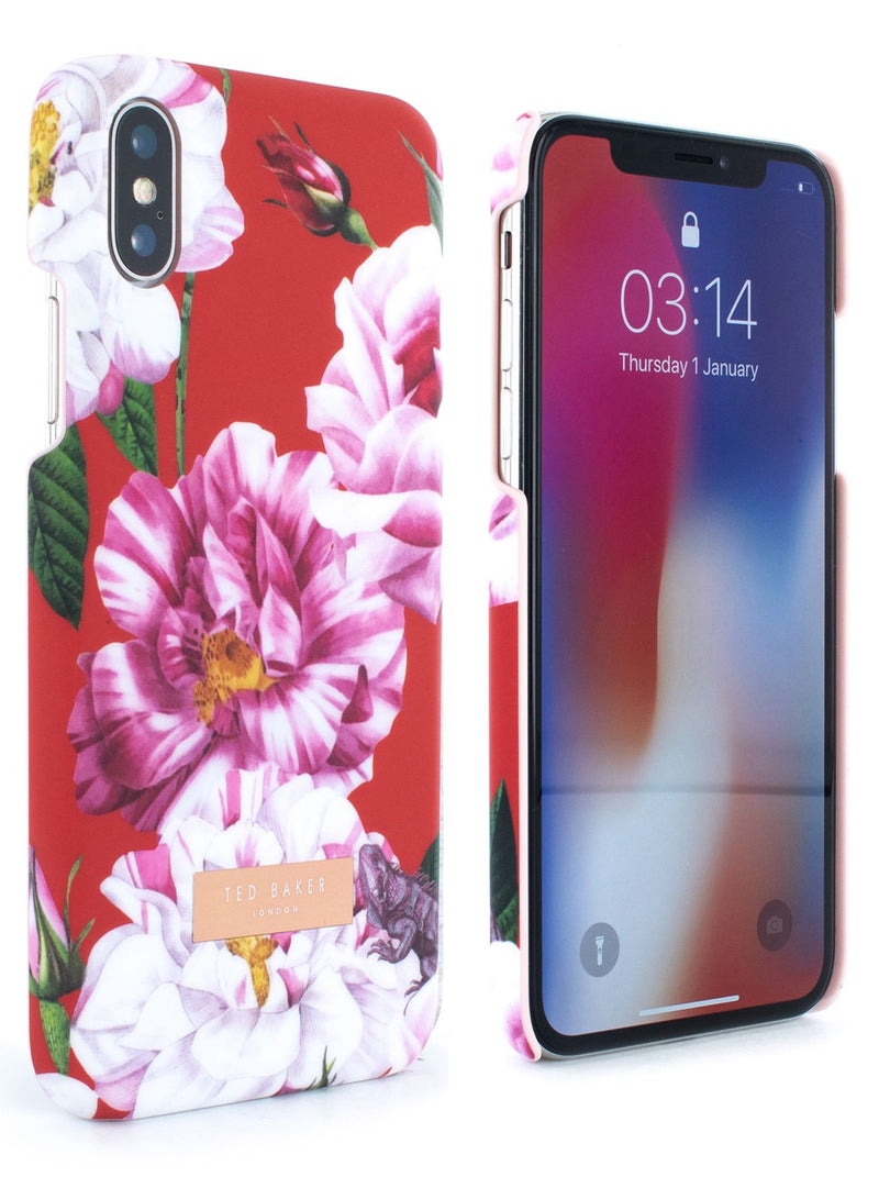 Front and back image of the Ted Baker Apple iPhone XS / X phone case in Iguazu Red
