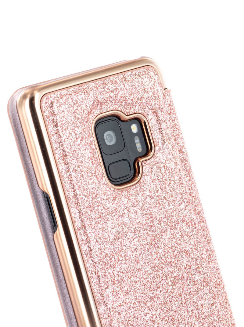 Detail image of the Ted Baker Samsung Galaxy S9 phone case in Rose Gold