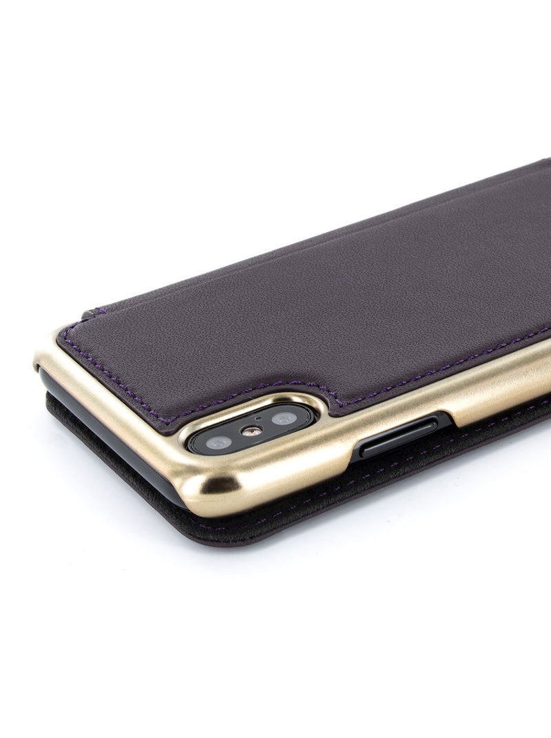 Detail image of the Greenwich Apple iPhone XS / X phone case in Damson Purple