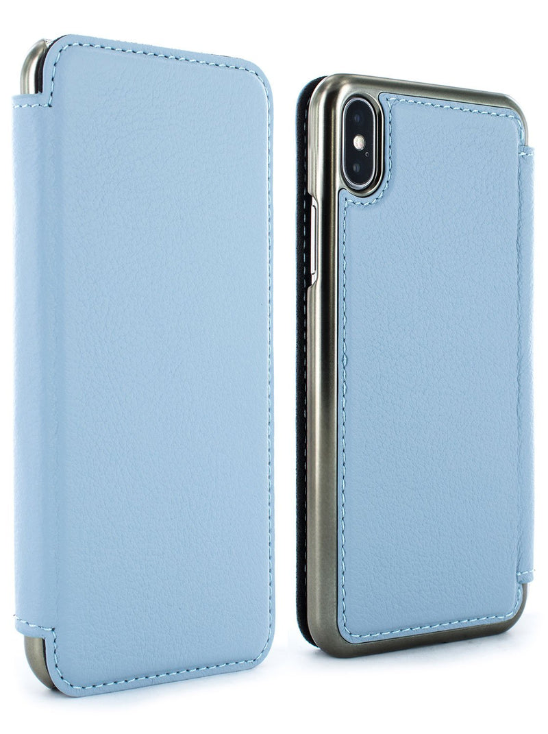 Front and back image of the Greenwich Apple iPhone XS Max phone case in Beach House Blue