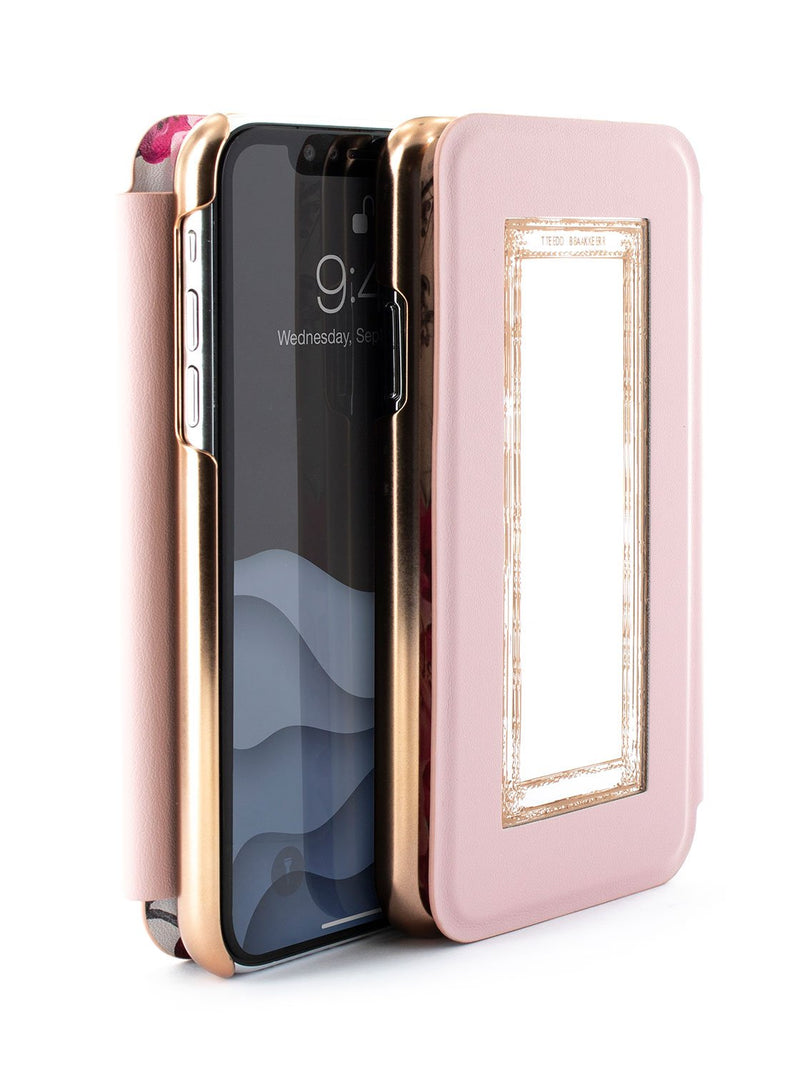 Flip-back front and back image of the Ted Baker Apple iPhone XS / X phone case in Babylon Nickel