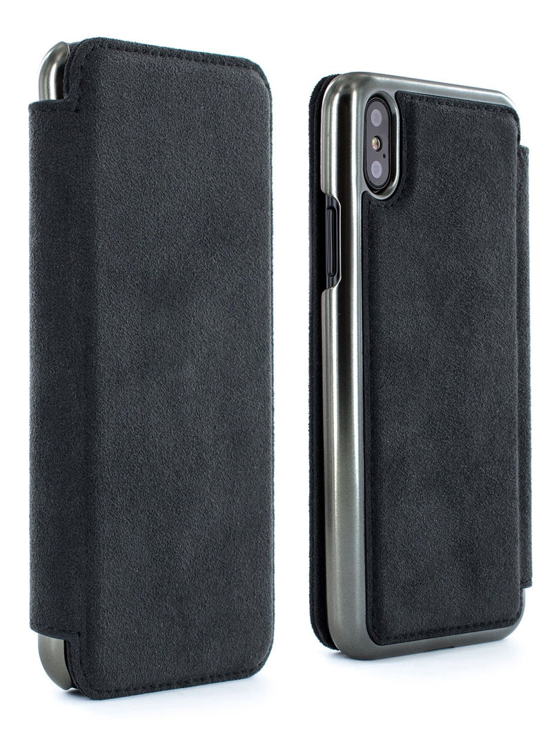 Front and back image of the Greenwich Apple iPhone XS Max phone case in Alcantara