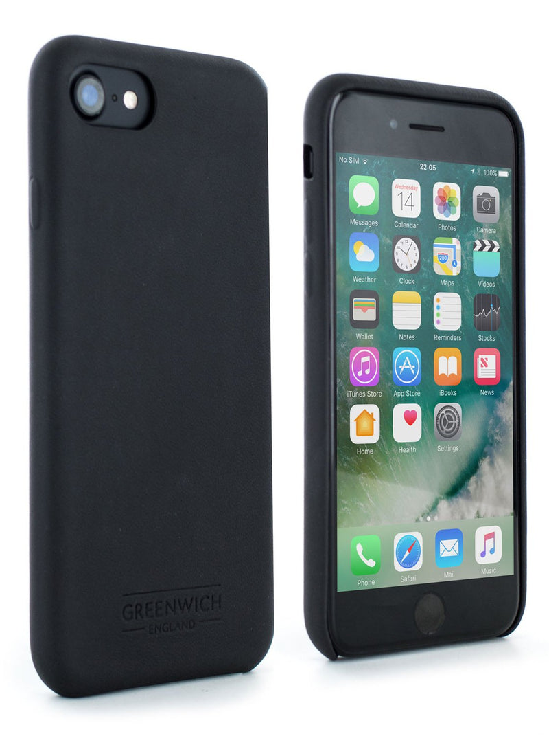 Front and back image of the Greenwich Apple iPhone 8 / 7 / 6S phone case in Beluga Black