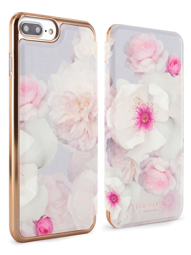 Front and back image of the Ted Baker Apple iPhone 8 Plus / 7 Plus phone case in Pale Grey