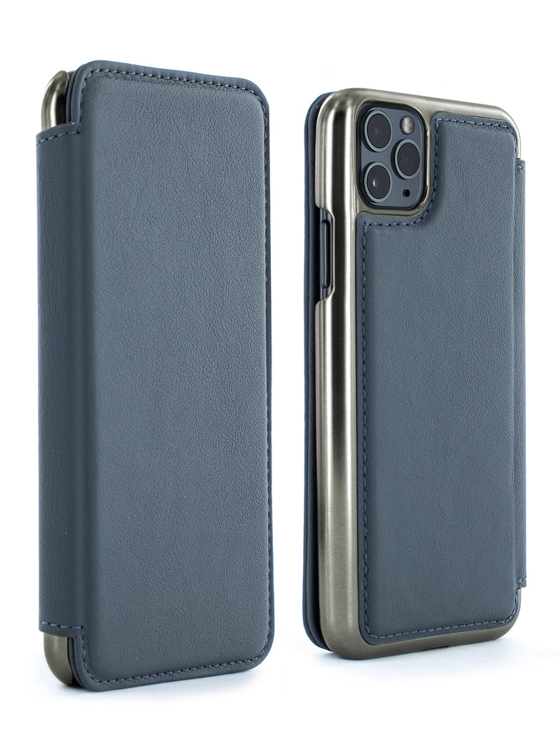 BLAKE Luxury Leather Case for iPhone 11 Pro Max - SEAL (GREY)/GUNMETAL
