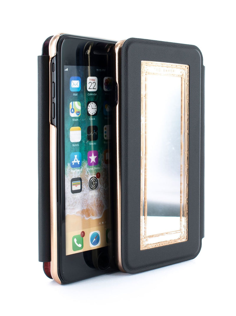 Flip-back front and back image of the Ted Baker Apple iPhone 8 Plus / 7 Plus phone case in Black