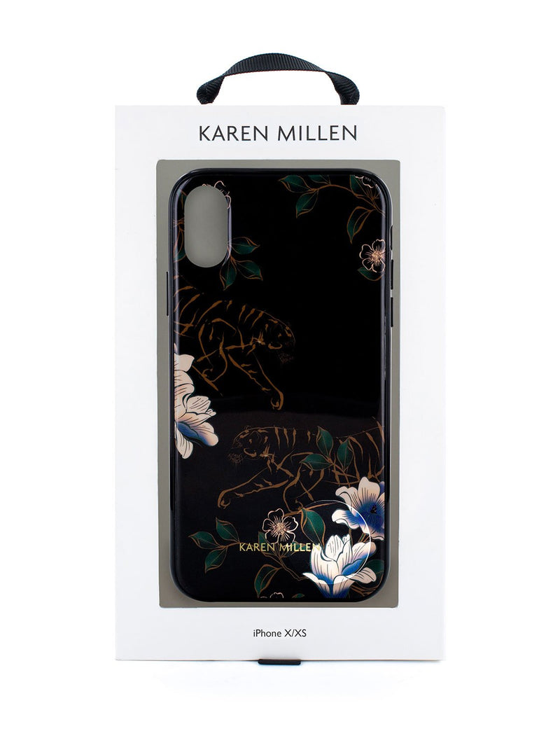 Packaging image of the Karen Millen Apple iPhone XS / X phone case in Black