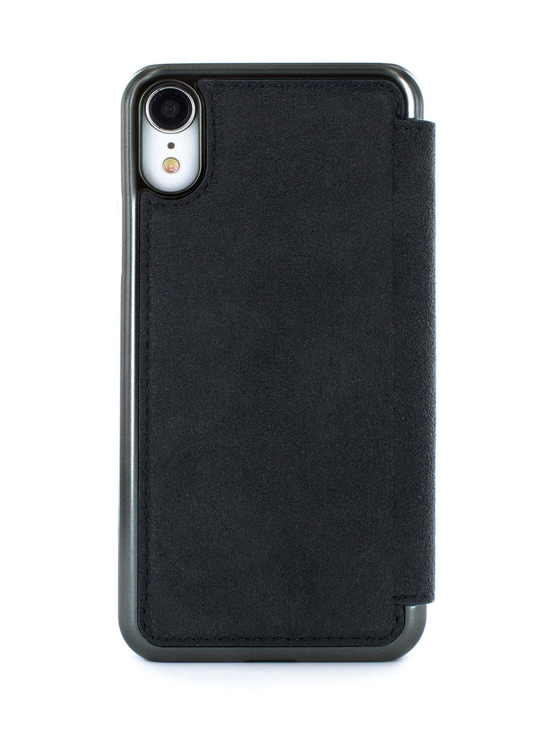 Back image of the Greenwich Apple iPhone XR phone case in Alcantara