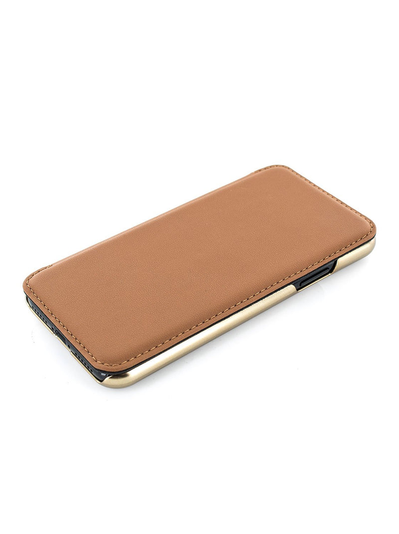 Face up image of the Greenwich Apple iPhone XS Max phone case in Saddle Brown
