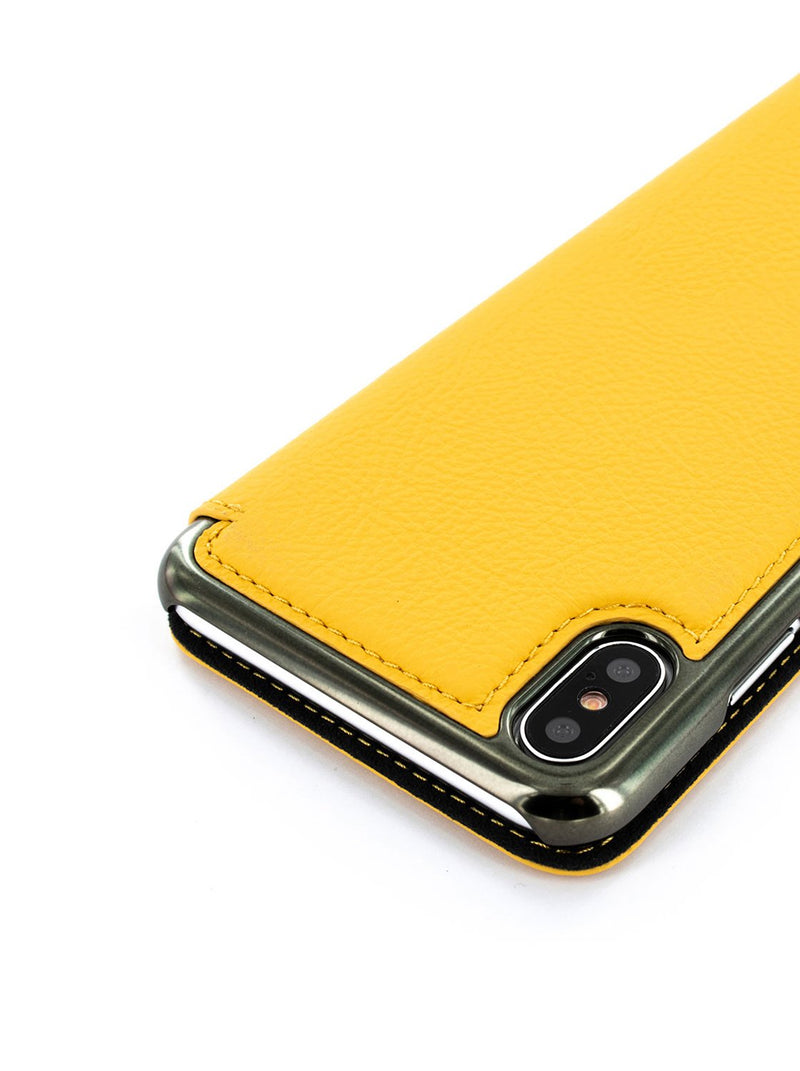 Detail image of the Greenwich Apple iPhone XS / X phone case in Canary Yellow