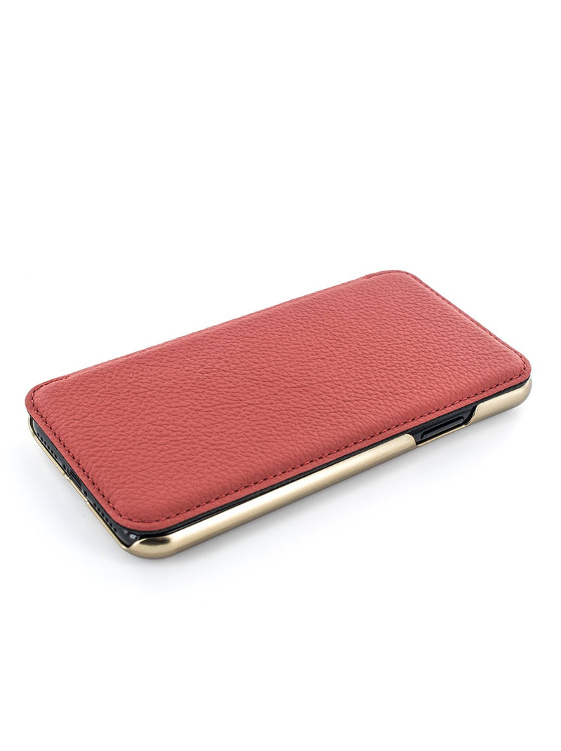 Face up image of the Greenwich Apple iPhone XS / X phone case in Scarlet Red