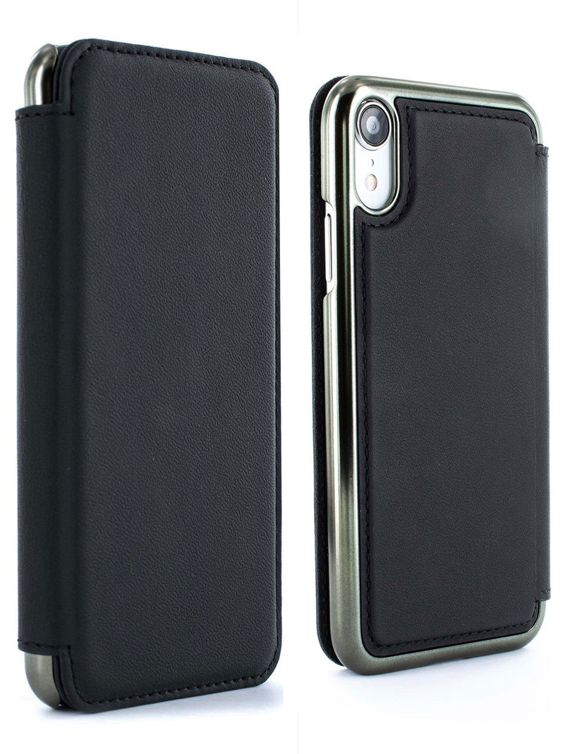 Front and back image of the Greenwich Apple iPhone XR phone case in Beluga Black