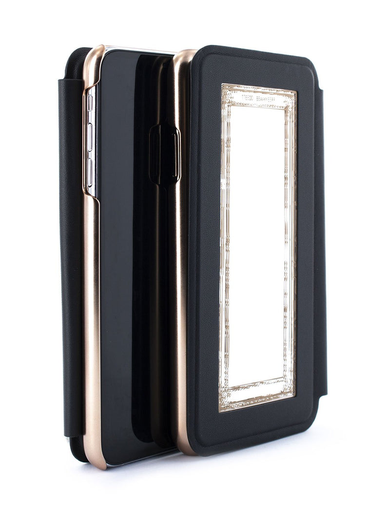 Flip back front and back image of the Ted Baker Apple iPhone XS Max phone case in Black