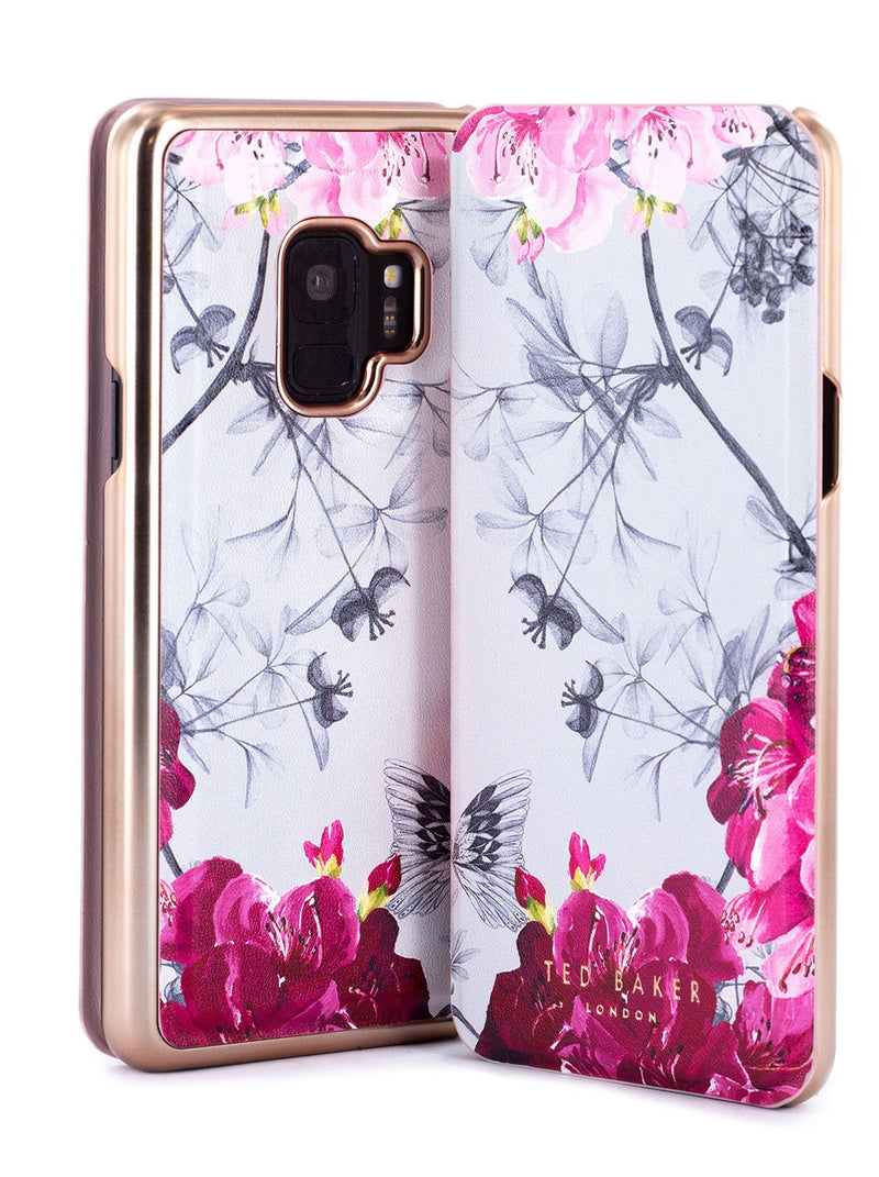 Front and back image of the Ted Baker Samsung Galaxy S9 phone case in Babylon Nickel