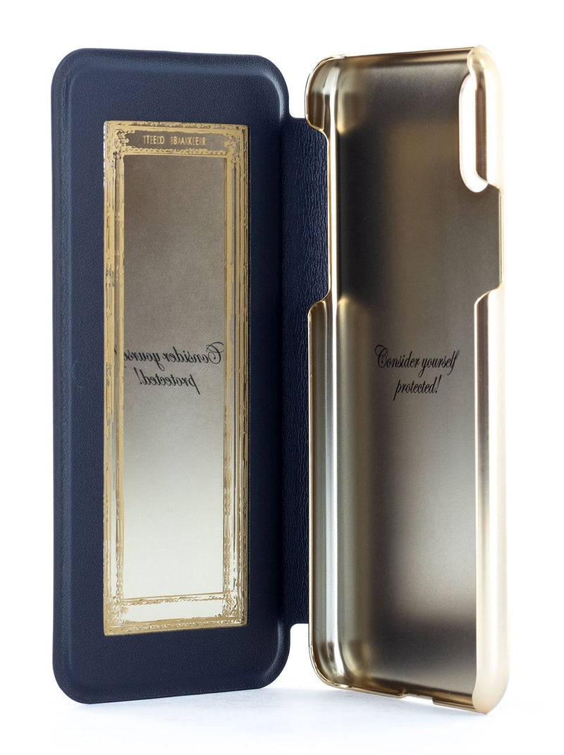 Inside image of the Ted Baker Apple iPhone XS / X phone case in Dark Blue