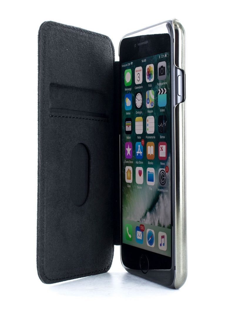 Inside image of the Greenwich Apple iPhone 8 / 7 / 6S phone case in Alcantara
