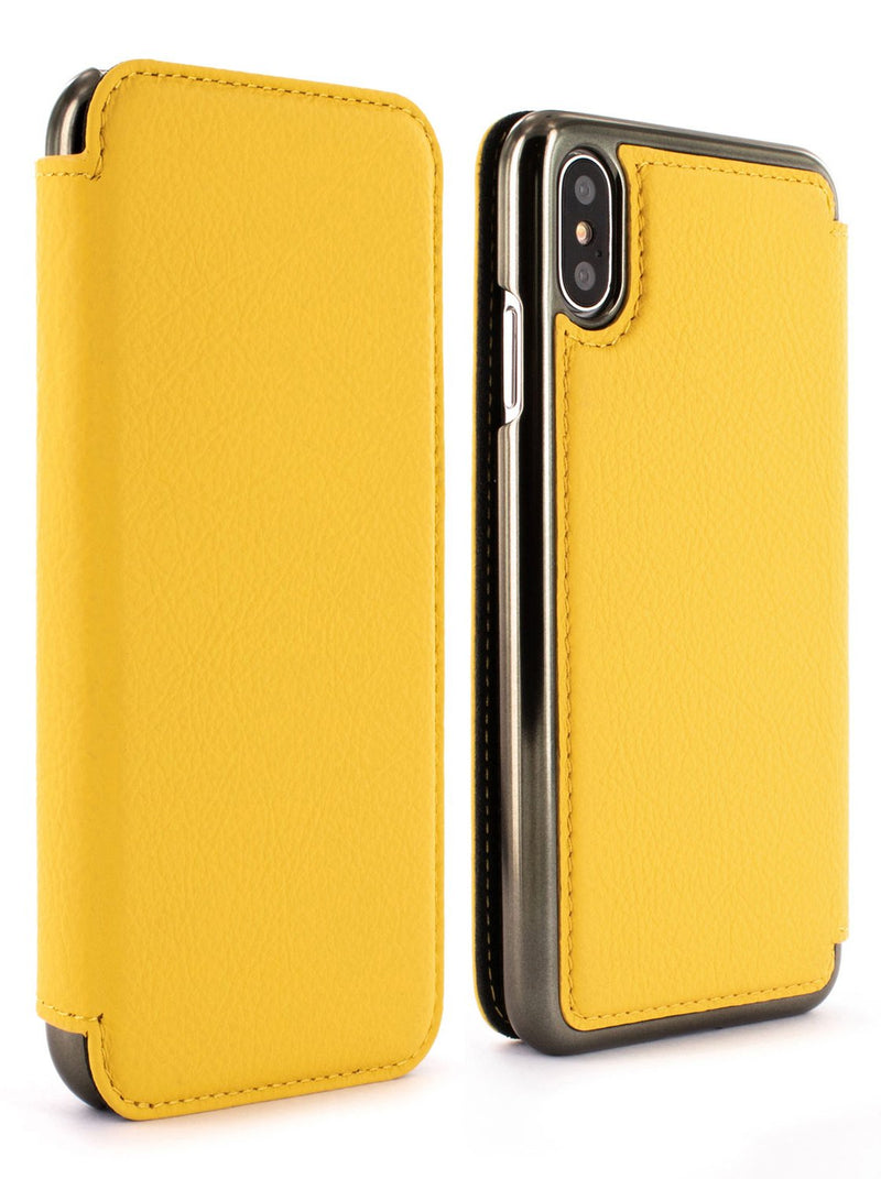 Front and back image of the Greenwich Apple iPhone XS / X phone case in Canary Yellow