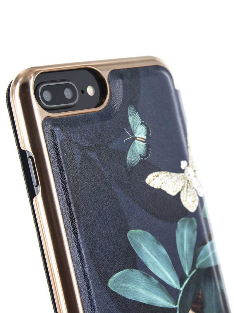 Detail image of the Ted Baker Apple iPhone 8 Plus / 7 Plus phone case in Houdini Green style