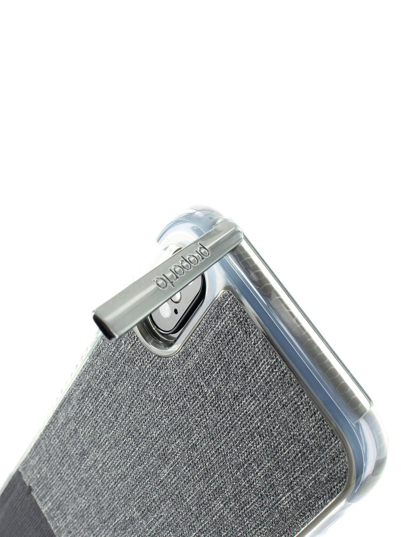 Kickstand detail image of the Proporta Apple iPhone XS / X phone case in Grey