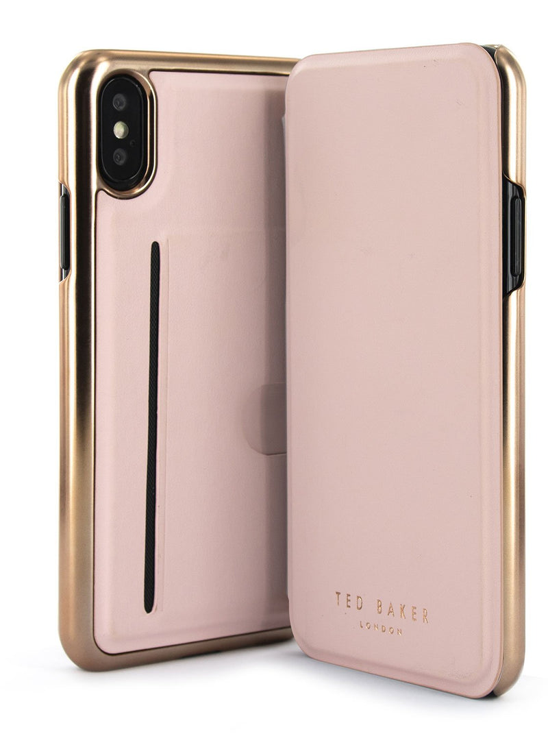 Front and back image of the Ted Baker Apple iPhone XS / X phone case in Rose Gold