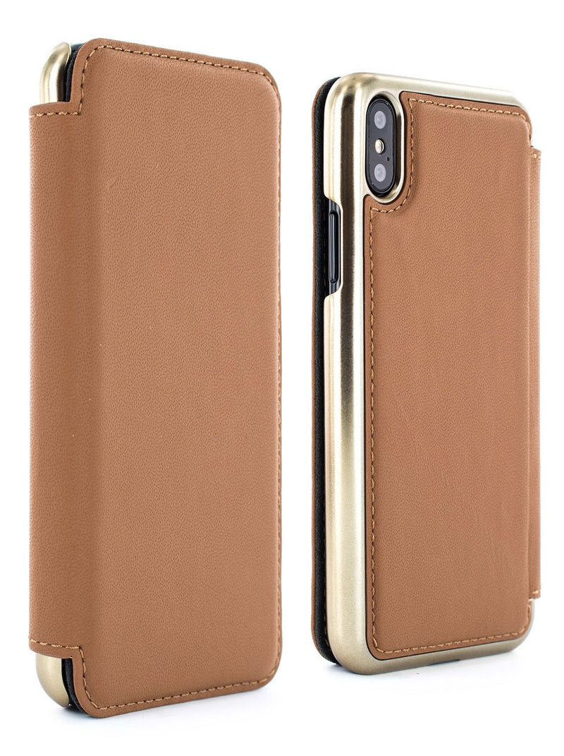 Front and back image of the Greenwich Apple iPhone XS Max phone case in Saddle Brown