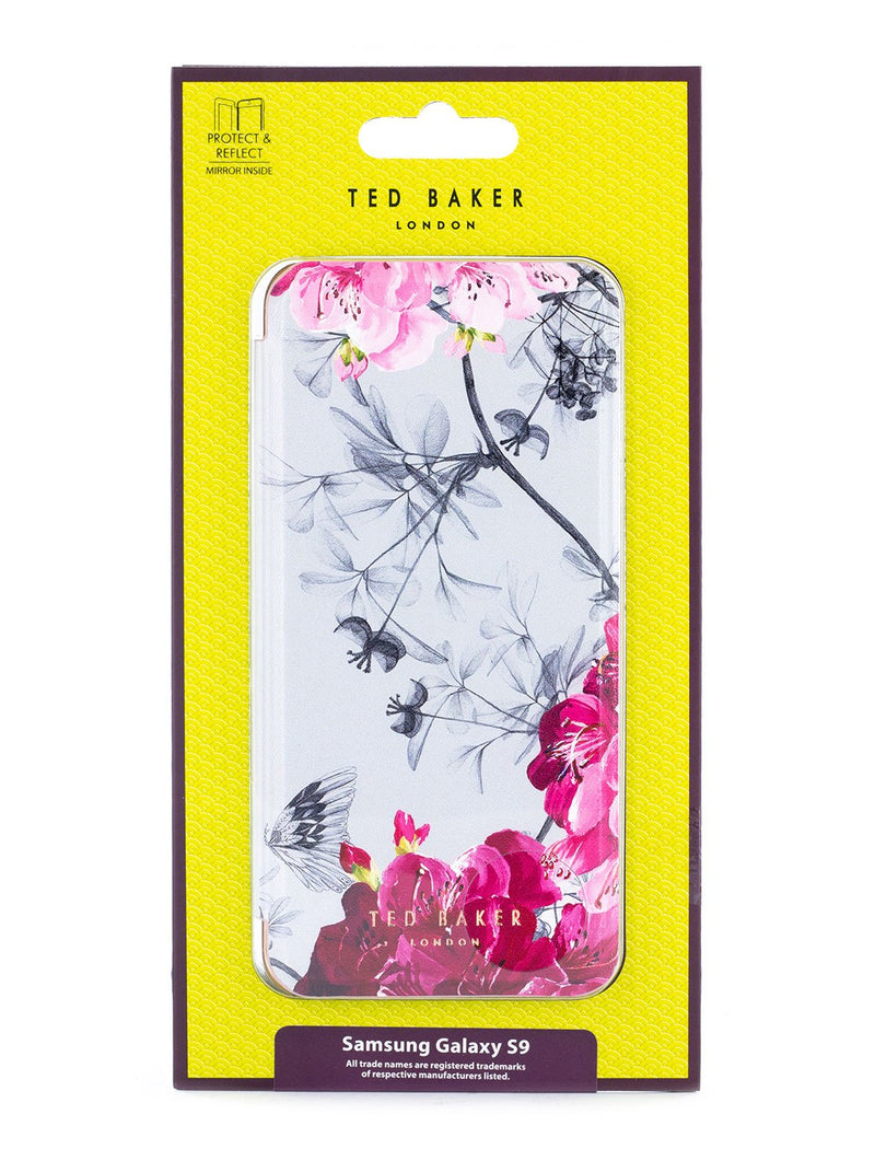 Packaging image of the Ted Baker Samsung Galaxy S9 phone case in Babylon Nickel