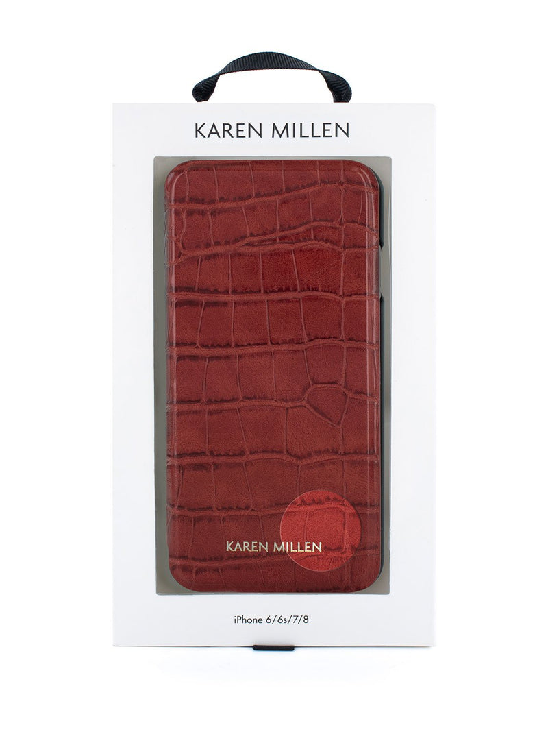 Packaging image of the Karen Millen Apple iPhone 8 / 7 / 6S phone case in Red