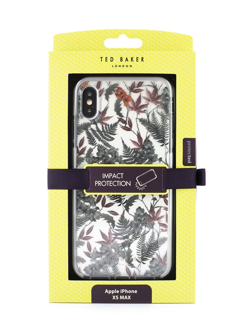 Packaging image of the Ted Baker Apple iPhone XS Max phone case in Clear Print