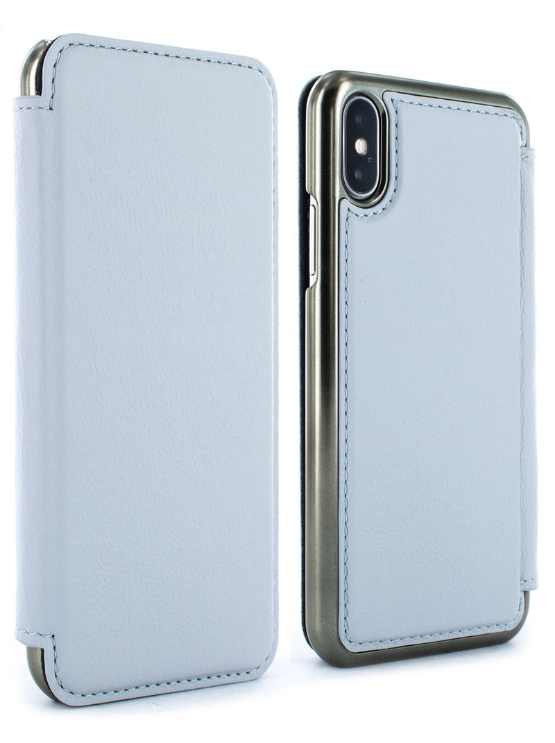 Front and back image of the Greenwich Apple iPhone XS / X phone case in Pale Gravel