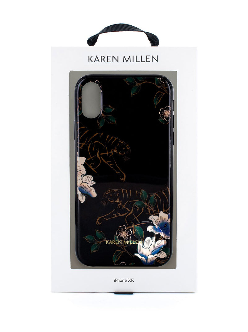 Packaging image of the Karen Millen Apple iPhone XR phone case in Black