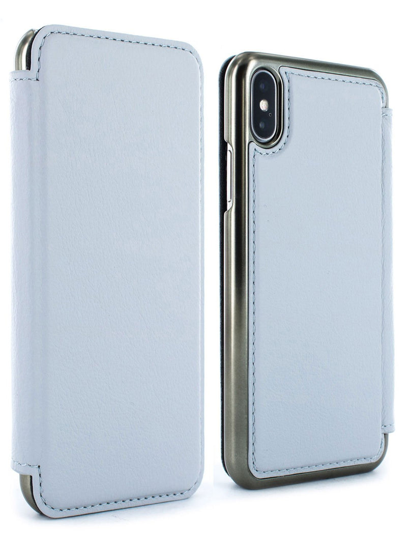 Front and back image of the Greenwich Apple iPhone XS Max phone case in Pale Gravel Grey