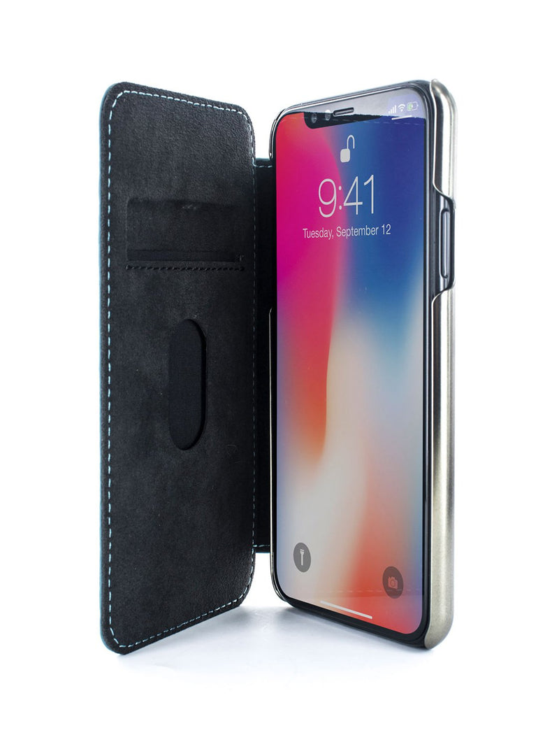 Inside image of the Greenwich Apple iPhone XS / X phone case in Tahiti Blue