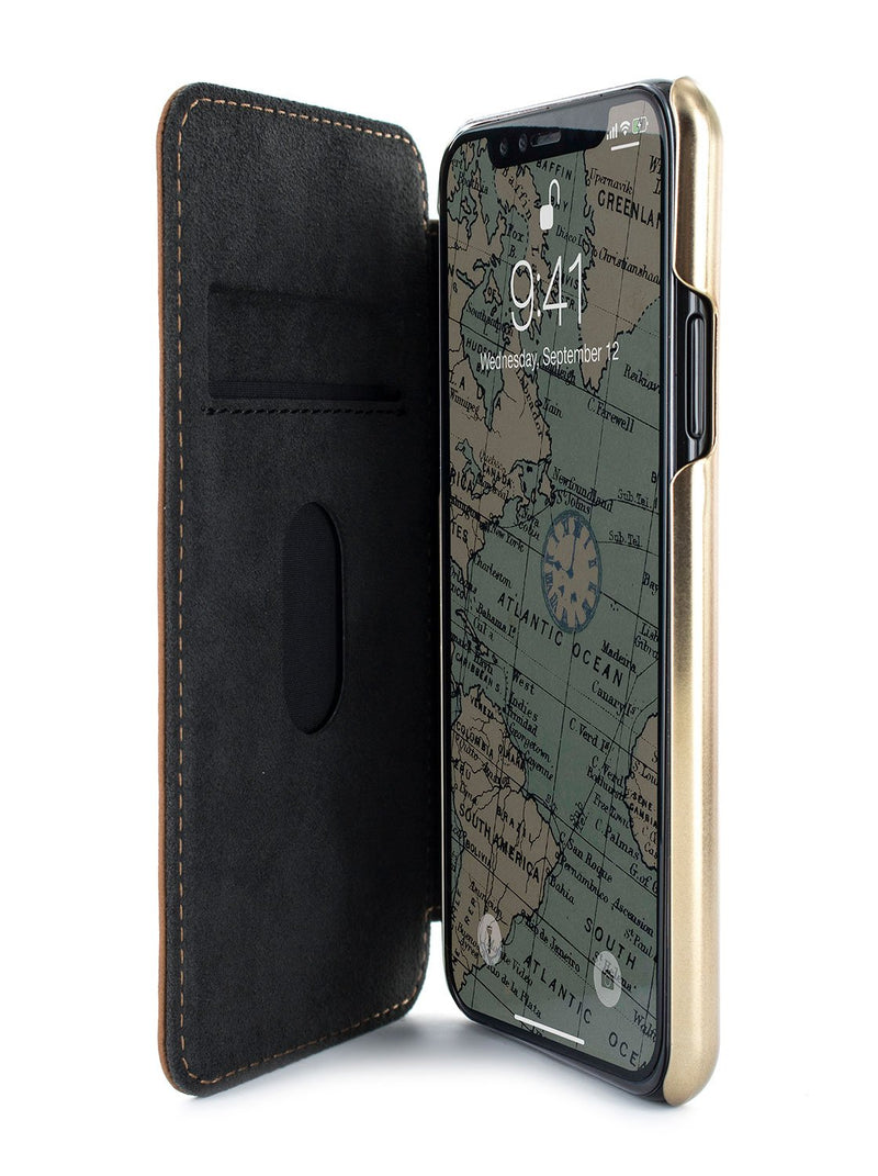 Inside image of the Greenwich Apple iPhone XS Max phone case in Saddle Brown